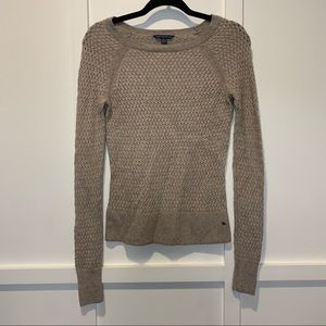 American Eagle Tan Knit Sweater Extra Small